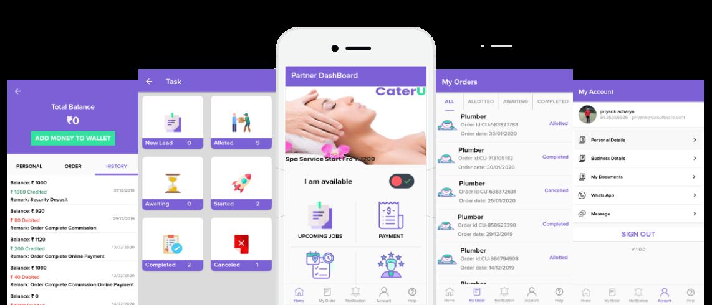 On Demand Service Provider App Mobile Screens